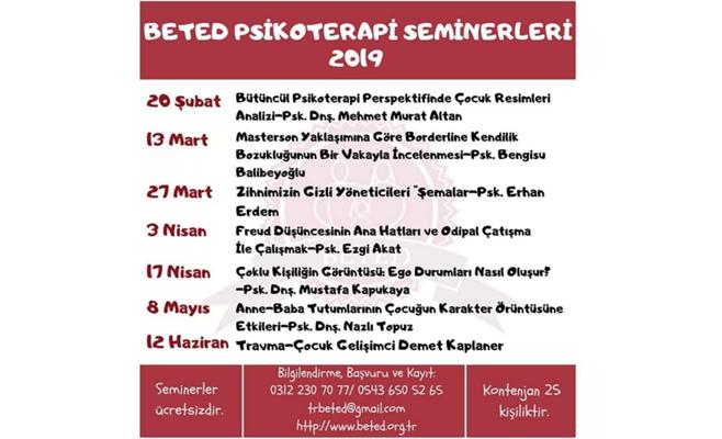 2019 BETED PSİKOTERAPİ SEMİNERLERİ
